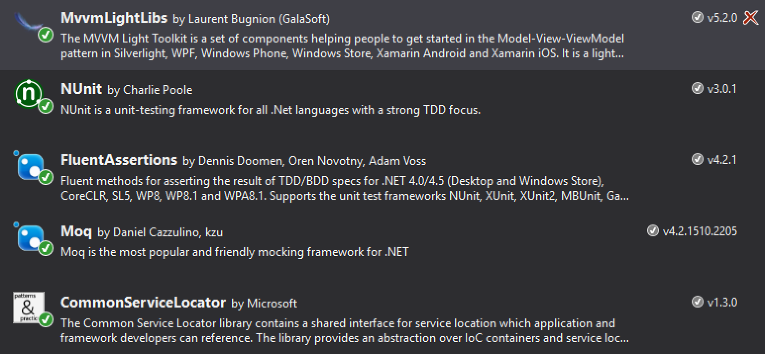 Installed nuget packages