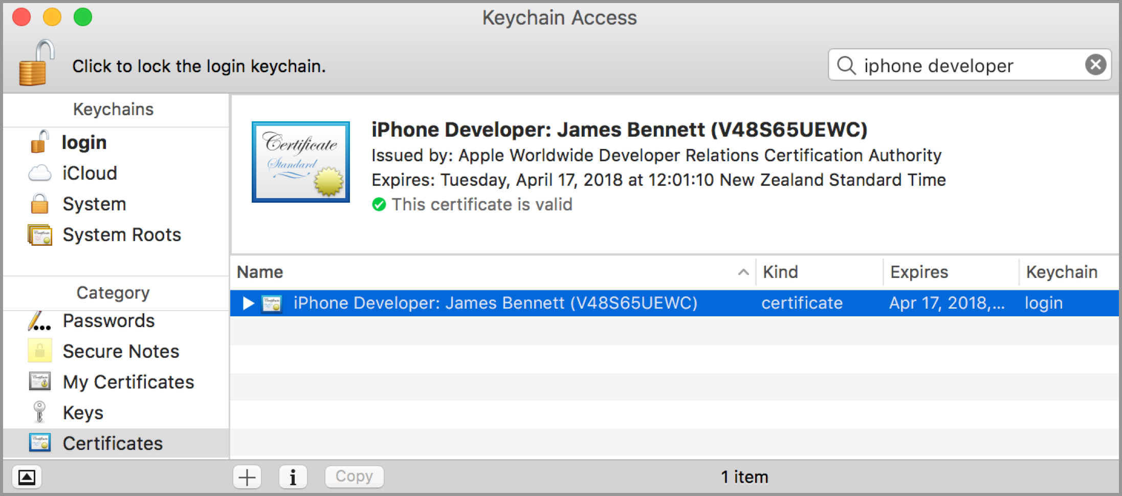 Use Keychain Access to export your certificate