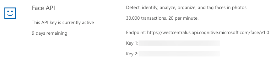 The Face API keys, limits and endpoint