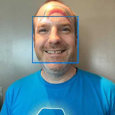 A picture of the author with a bounding box showing the face rectangle