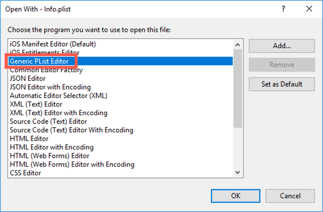 Select the Generic PList editor from the open with dialog