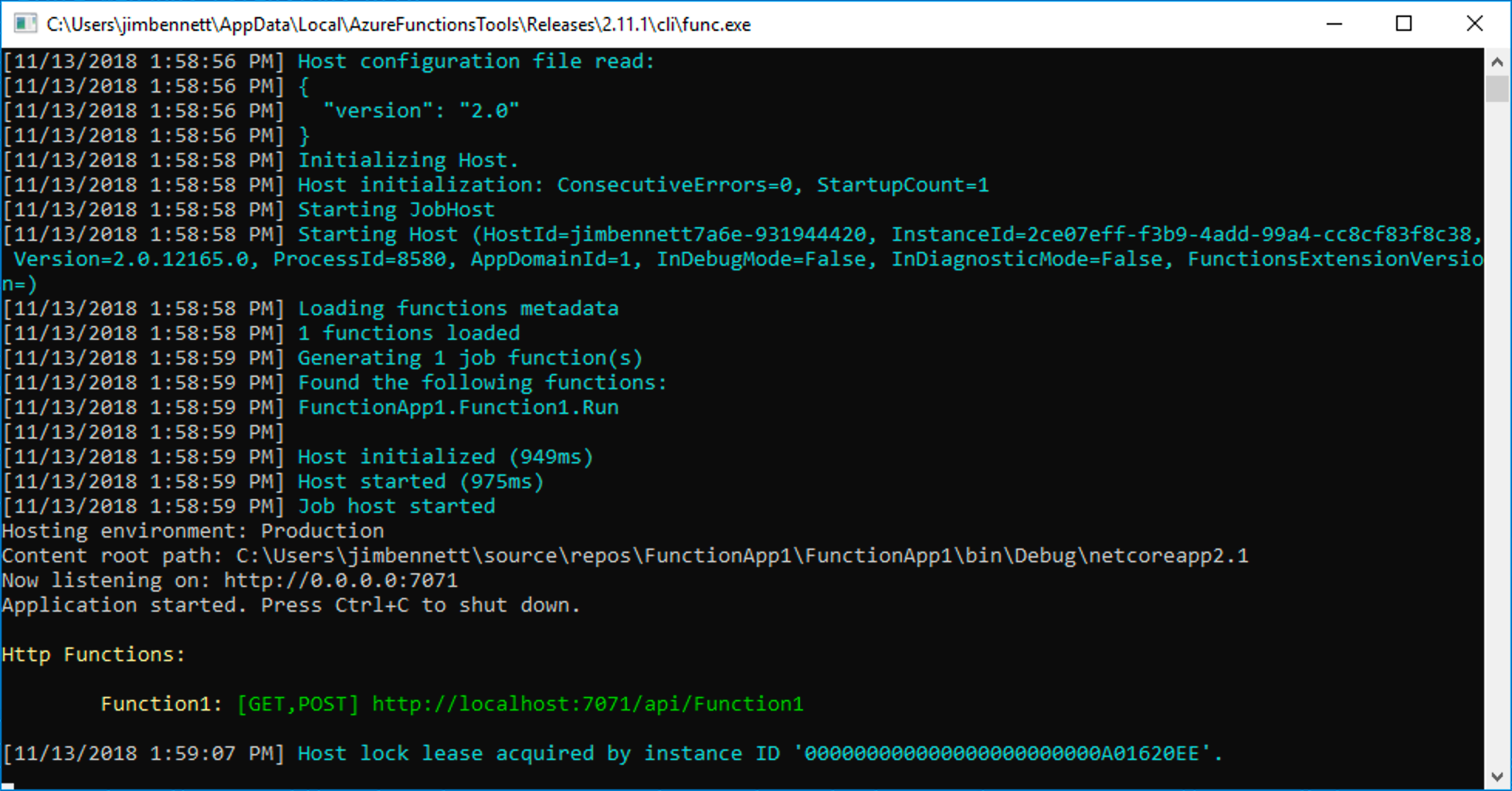 The functions app running in a console window