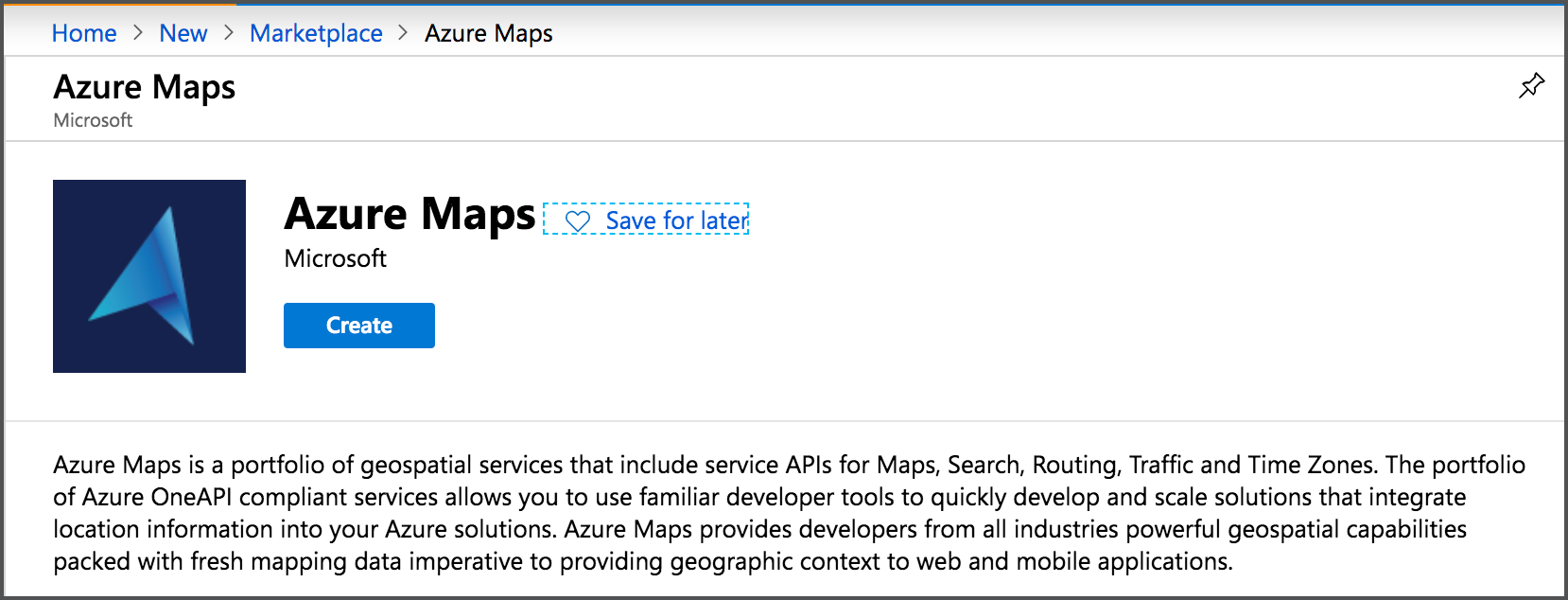 A new Azure Maps resource in the Azure portal