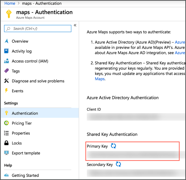 The Azure Maps blade in the portal showing where the primary key is in the authentication tab
