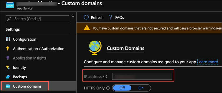 The custom domains blade