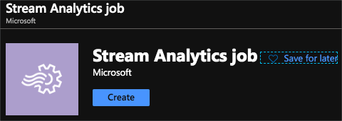 The stream analytics job in the Azure portal
